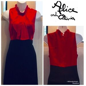 Alice+ OLivia GLITZ GLAM RED BLACK SILK WOOL DRESS